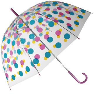Parasol damski przezroczysty z kolorowymi kropeczkami