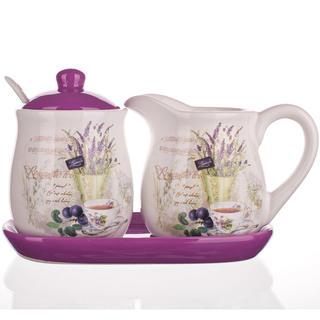 Ceramiczny pojemniczek do mleka i cukierniczka Lavender, BANQUET