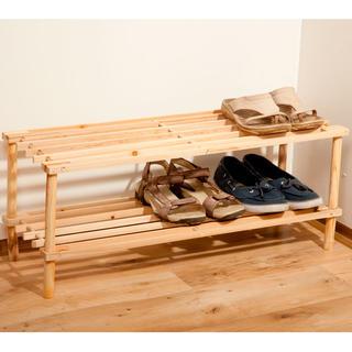 Drewniana półka na buty 2 poziomy