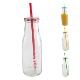 Szklana butelka STRAW z wieczkiem i słomką