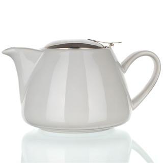 Dzbanek ceramiczny z wieczkiem ze stali nierdzewnej i sitko Bonnet biały, BANQUET