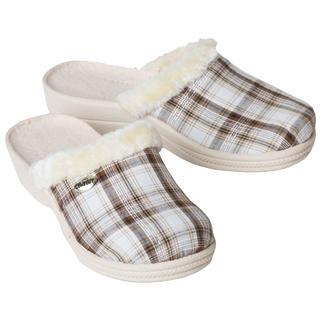 Damskie pantofle domowe z futerkiem, krata