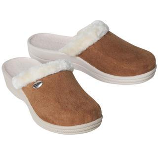 Damskie pantofle domowe z futerkiem, brązowe