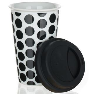 Kubek dwuwarstwowy z silikonowym wieczkiem COLOR PLUS czarny, BANQUET
