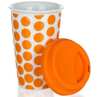 Kubek dwuwarstwowy z silikonowym wieczkiem COLOR PLUS pomarańczowy, BANQUET