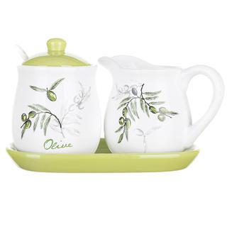 Ceramiczny dzbanek na mleko i cukierniczka OLIVES 4częściowa