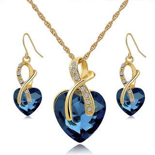Łańcuszek i kolczyki z niebieskim kamieniem