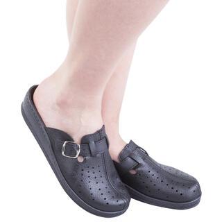 Pantofle damskie z zakrytymi palcami i klamrą czarne