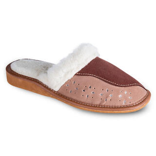 Damskie pantofle domowe ze skórzaną warstwą