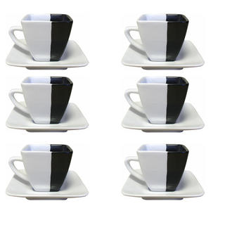 Ceramiczna filiżanka z talerzykiem zestaw 6 sztuk