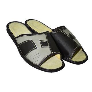 Pantofle domowe męskie skórzane ze wzorem