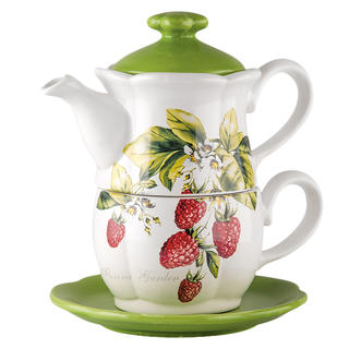 Dzbanek ceramiczny z filiżanką FLORINA GARDEN Malina