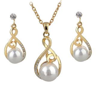 Naszyjnik z perłą i kolczyki złoty