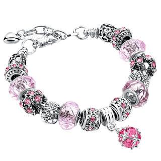 Damska bransoletka z koralikami różowa