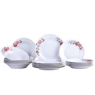 Porcelanowy zestaw talerzy PEONIA ROSE 18 szt.