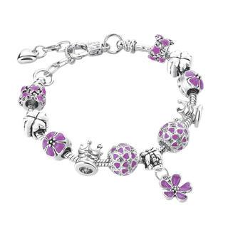 Bransoletka z kwiatuszkami, fioletowa