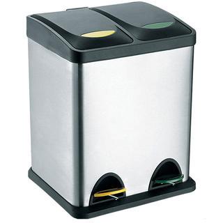 Dwudzielny kosz ze stali nierdzewnej do segregowania odpadów TORO, pojemność 16 l