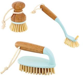 Zestaw szczotek do czyszczenia z uchwytem bambusowym