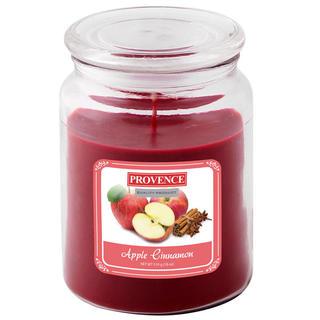 Świeca z szkła z pokrywką, jabłko i cynamon