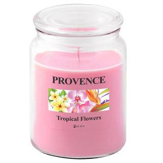Świeczka w szkle z wieczkiem, tropikalne kwiaty
