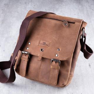 Skórzana torba na ramię LANDLEDER jasnobrązowa