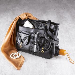 Damska skórzana torebka z kieszenią na parasolkę