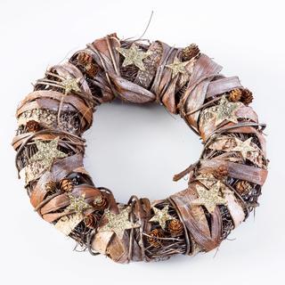 Świąteczny wieniec z korą brzozową złoto - brązowy 32 cm