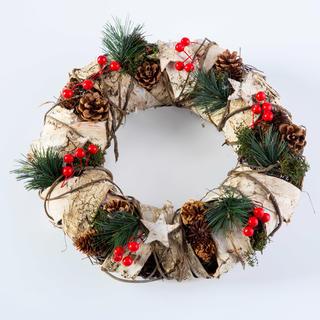 Świąteczny wieniec z korą brzozową naturalny 32 cm
