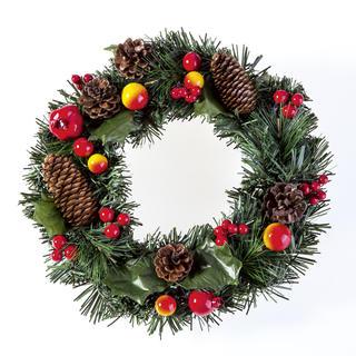Sztuczny wianek na Boże Narodzenie z jabłkami 30 cm