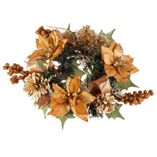 Sztuczny świąteczny wieniec miedziany 20 cm