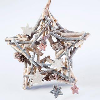 Świąteczna drewniana dekoracja gwiazdka 24 cm