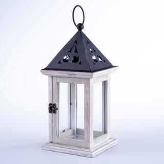 Drewniana latarnia z metalowym dachem 33 cm