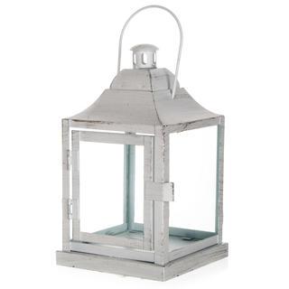 Metalowa latarnia na małą świeczkę matowa biała 20 cm