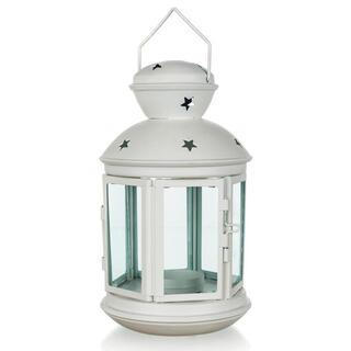 Metalowa okrągła latarnia na małą świeczkę biała 20,5 cm