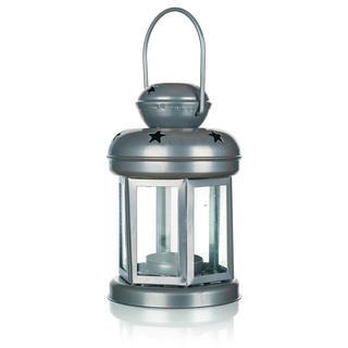 Metalowa okrągła latarnia na małą świeczkę srebrna 16 cm
