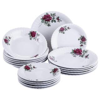 Zestaw porcelanowych talerzy z różami IVONA 18 szt.