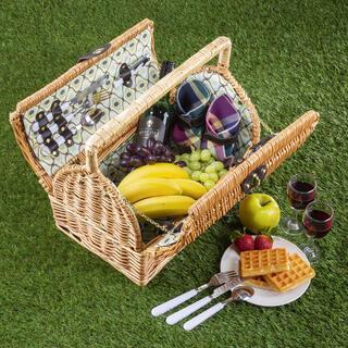 Wiklinowy kosz piknikowy dla 2 osób