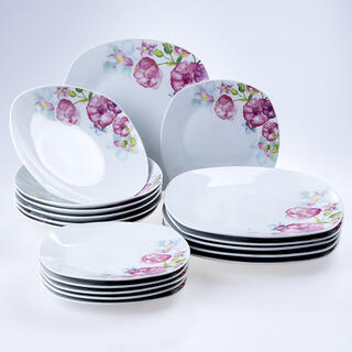 Komplet porcelanowych talerzy square DOLORES 18 szt.