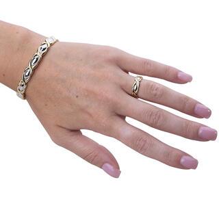 Zestaw ozdobna bransoletka magnetyczna z pierścionkiem