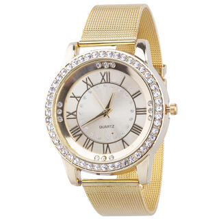 Złoty zegarek z kamykami