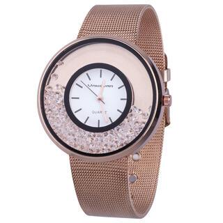 Damski różowy zegarek z kamykami