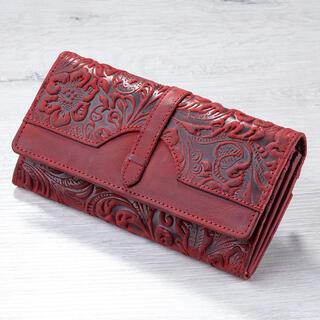 Portfel skórzany damski z reliefem czerwony