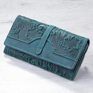 Portfel skórzany damski z reliefem zielony