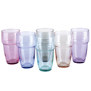 Komplet 6 kolorowych szklanek GALETA