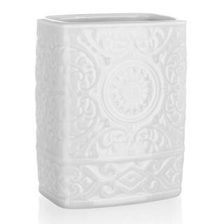 Biały ceramiczny pojemnik na szczoteczki do zębów