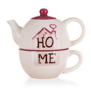 Czajniczek ceramiczny z filiżanką HOME