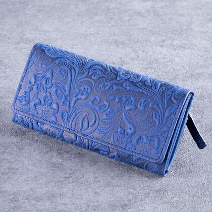 Portfel skórzany damski niebieski
