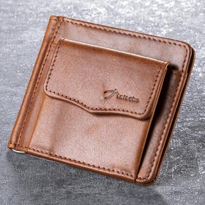 Skórzany portfel męski z kieszonką jasny brąz - banknotówka