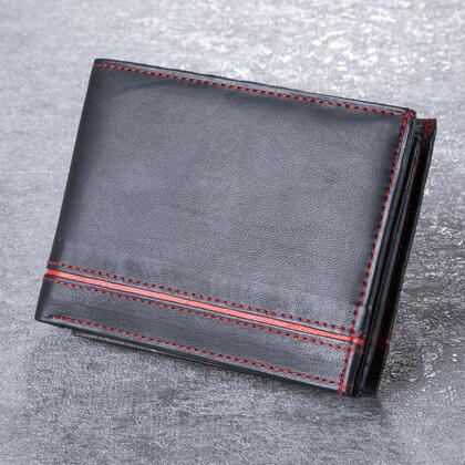 Portfel męski skórzany z czerwonym paskiem