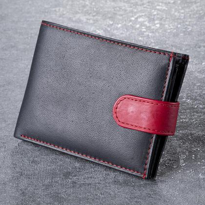 Portfel męski skórzany z czerwonym klipsem